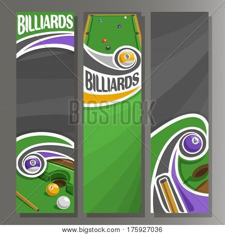 Vector Vertical Banners for Billiards: 3 cartoon template for title text on snooker theme, billiards table, 9, 4, 12, 1 numbers pool balls, abstract vertical banner for inscription on grey background.