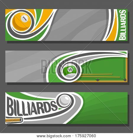 Vector horizontal Banners for Billiards: 3 cartoon covers for title text on snooker theme, billiards table, 1, 14 numbers, cue hit pool ball, abstract headers banner for inscription on gray background