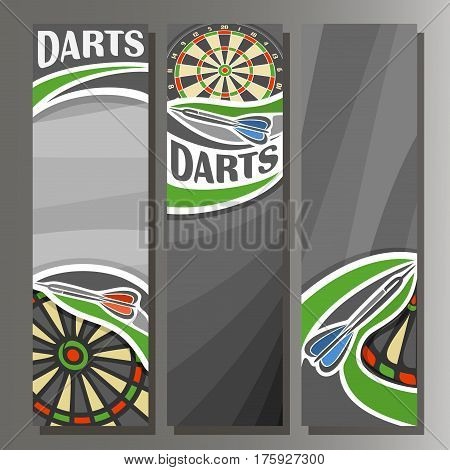Vector Vertical Banners for Darts board: 3 cartoon template for title text on dart Dartboard theme, arrow throwing in target dartboard goal, abstract vertical banner for inscription on grey background
