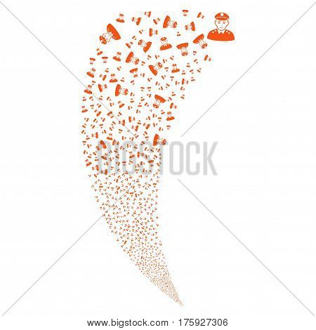 Army General random fireworks stream. Vector illustration style is flat orange iconic symbols on a white background. Object fountain constructed from scattered pictographs.