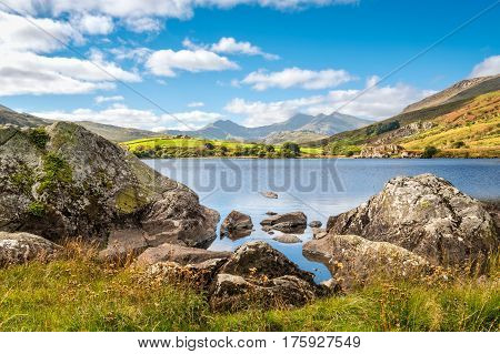 View of Snowdon peak from lake Llynnau Mymbyr in Snowdonia National Park North Wales