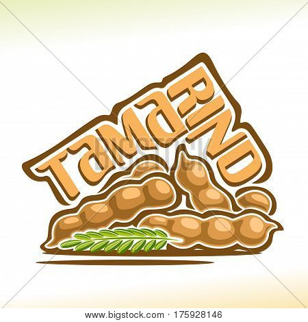 Vector logo Tamarind Fruit: still life of heap tamarind pod with green branch, group fresh pale brown exotic fruits, abstract cartoon icon tamarindus indica with title text for label isolated on white