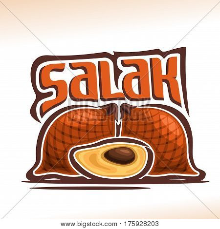 Vector logo Salak Fruit: still life of 3 whole and cut slice salak, group fresh asian brown exotic snake fruits, abstract cartoon icon zalacca or salacca with title text for label, isolated on white.