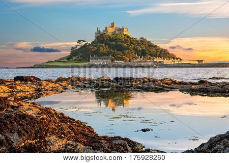 Penzance Cornwall United Kingdom - August 9 2016: View of St Michael's Mount in Cornwall at sunset