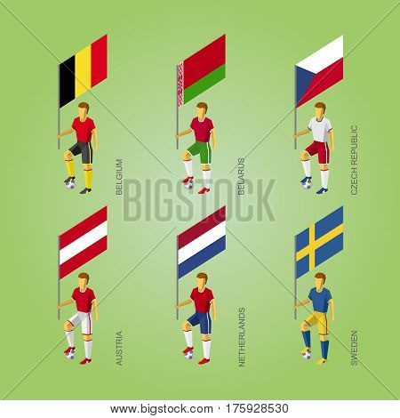 Football Players With Flags: Belgium, Belarus, Czech Republic, Austria, Netherlands, Sweden.