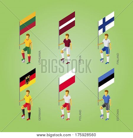 Football Players With Flags: Germany, Latvia, Estonia, Lithuania, Finland, Poland.