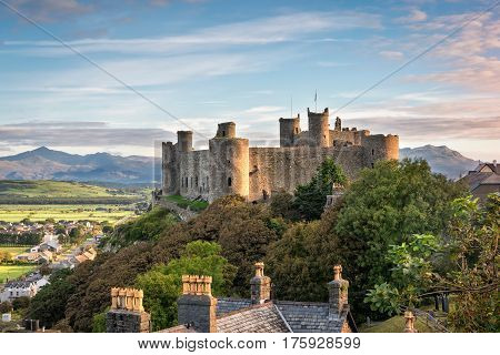 Harlech Wales United Kingdom - September 20 2016: View of Harlech Castle in North Wales at sunrise