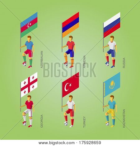 Football Players With Flags: Georgia, Turkey, Kazakhstan, Russia, Armenia, Azerbaijan.