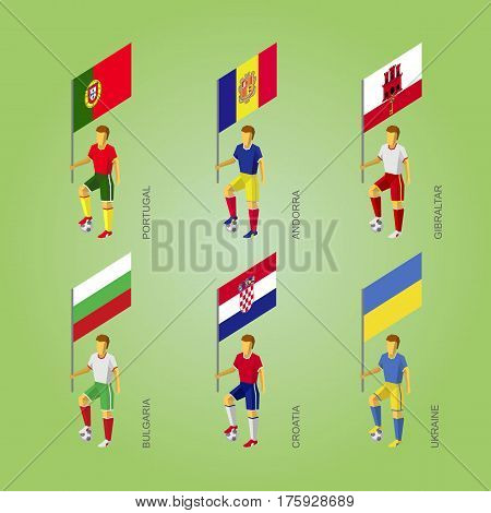 Football Players With Flag: Poland, Andorra, Gibraltar, Croatia, Bulgaria, Ukraine