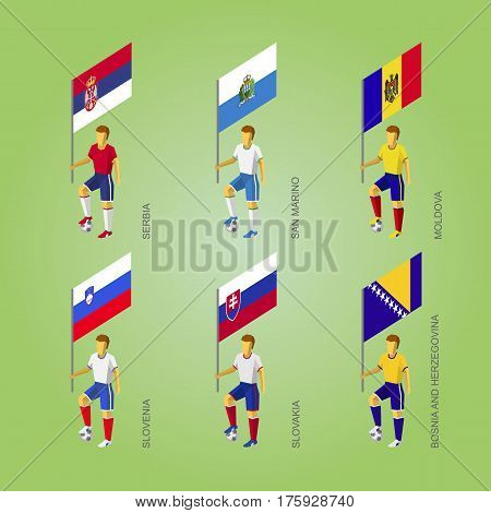 Football Players With Flags: Slovakia, Slovenia, Serbia, San Marino, Moldova, Bosnia