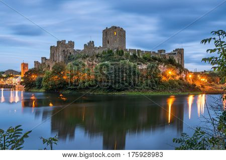 Pembroke Wales United Kingdom - September 22 2016: Panoramic view of Pembroke Castle in South Wales at night