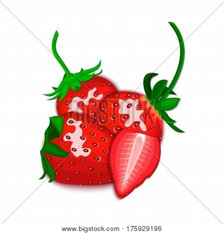 Vector composition of a fresh red strawberry. Whole and cut with tasty berries. Group of tasty ripe strawberry fruits for design for the packaging of juice, breakfast, of jam label, ice cream, smoothies