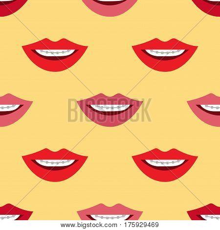 Braces. Seamless cartoon wallpaper on yellow background