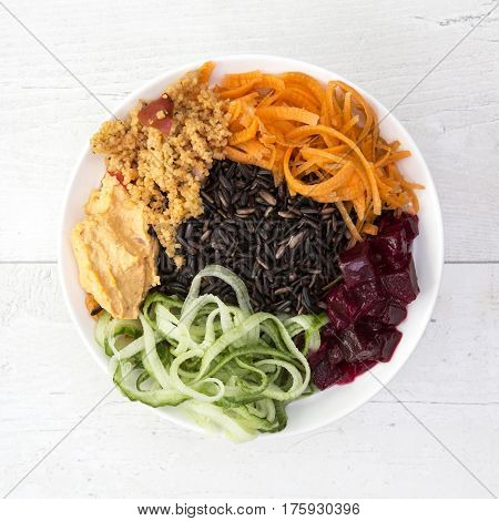 Buddha Bowl with Black Rice Harissa Spiced Chickpeas Butternut Noodles Red pepper and Walnut Dip