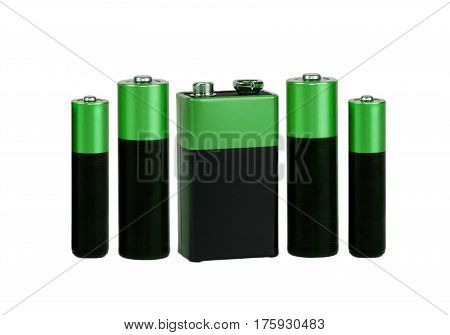 Many Different  green  batteries, type AAA, type AA, type PP3, white background, isolated