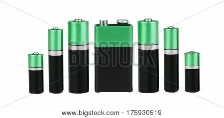 Many Different batteries, type AAA, type AA, type PP3, white background, isolated