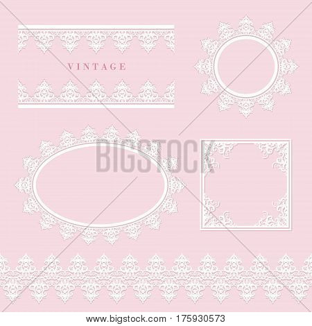 Lace decorative frame and border set on pastel pink. Round and oval lacy doilies. Wedding birthday baby shower scrapbook design. Vector.