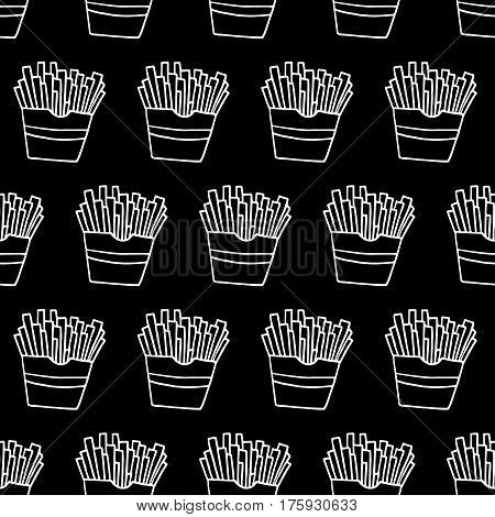 Doodle french fries pattern with hand drawn fast food. Cute vector black and white french fries pattern. Seamless monochrome french fries pattern for fabric, wallpapers, wrapping paper and cards.