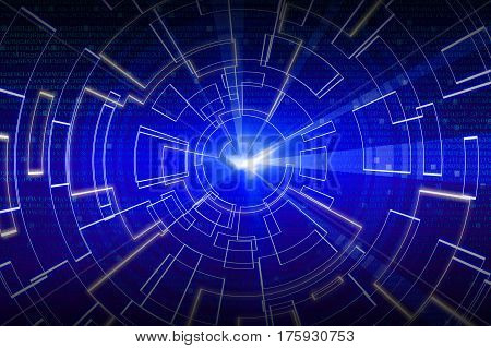 Blue Circular Glow Wave. Scifi Or Game Background.