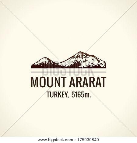 Mountain tourist raster logo. Emblem Mount adventures. Icon mount. Highest mountains in world. Ararat