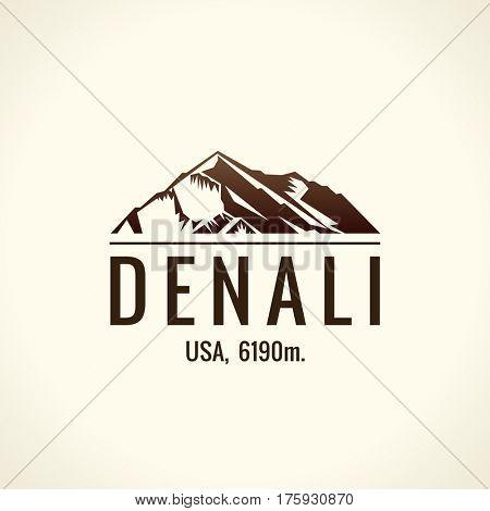 Mountain tourist raster logo. Emblem Mount adventures. Icon mount. Highest mountains in world. Denali, McKinley