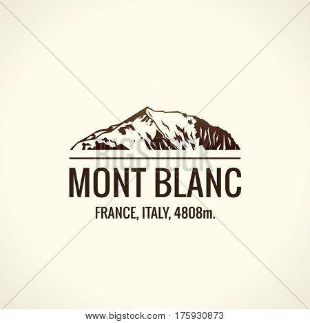 Mountain tourist raster logo. Emblem Mount adventures. Icon mount. Highest mountains in world. Mont Blanc