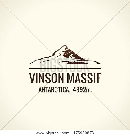 Mountain tourist raster logo. Emblem Mount adventures. Icon mount. Highest mountains in world. Vinson Massif