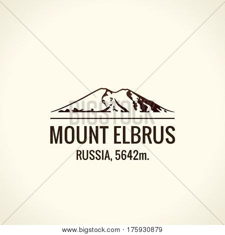 Mountain tourist raster logo. Emblem Mount adventures. Icon mount. Highest mountains in world. Elbrus