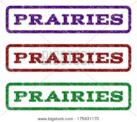 Prairies watermark stamp. Text caption inside rounded rectangle frame with grunge design style. Vector variants are indigo blue, red, green ink colors. Rubber seal stamp with dust texture.