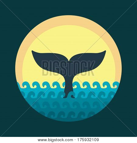 Whale tale. Vector illustration. Cartoon flat style
