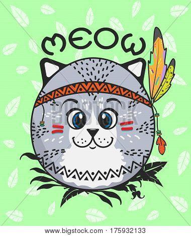 Cute Little Indian kitten sitting in ambush. Vector illustration.