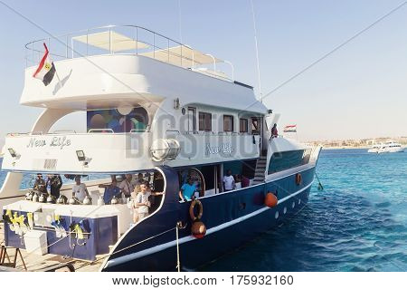 Egypt.hurgada October 6, 2016. A Pleasure Yacht With Tourists
