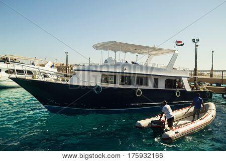 Egypt.Hurgada October 6 2016. A pleasure yacht with tourists.