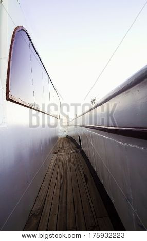 Narrow Passage On The Deck Of The Yacht In Perspective