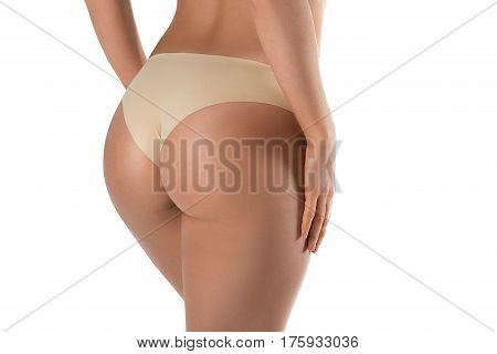 Ideal woman's butt and hips - perfect anti-cellulite and skin care therapy program. Isolated on white.