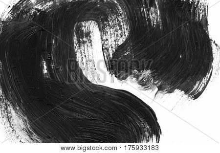 Abstract ink background. Marble style. Black and white paint stroke texture. Macro image of spackling paste. Wallpaper for web and game design. Drywall mud art. Smear of painterly plaster on paper