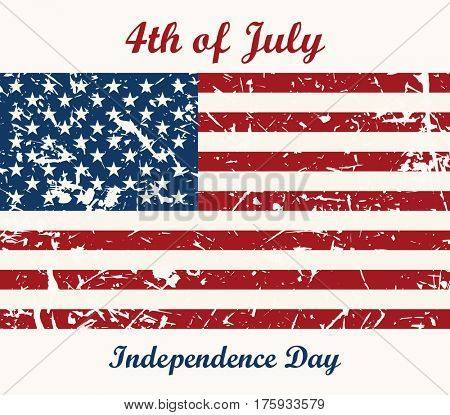 Flag USA. 4th of July. Independence Day Raster Design. Grunge background with place for text design concept for greeting card, banner, flyer, poster