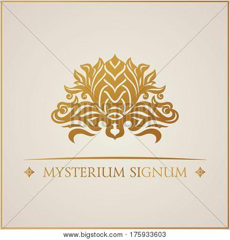 Calligraphic luxury symbol. Emblem ornate decor elements. Vintage raster ornament