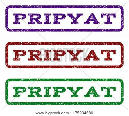 Pripyat watermark stamp. Text caption inside rounded rectangle with grunge design style. Vector variants are indigo blue, red, green ink colors. Rubber seal stamp with dirty texture.