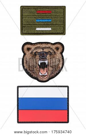 Flag patch, patch bear, isolated white background