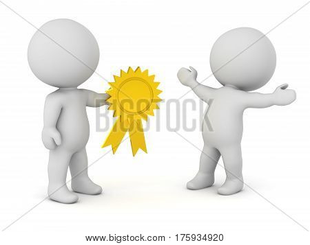 3D character offering a gold ribbon to another character. Isolated on white background.
