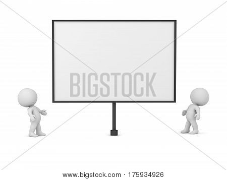 3D characters looking up at a large empty protest signs. Isolated on white background.