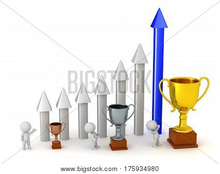 3D characters with an arrow chart and some trophies. Isolated on white background.