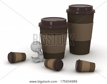 Small stressed 3D character and several large coffee cups. Isolated on white background.