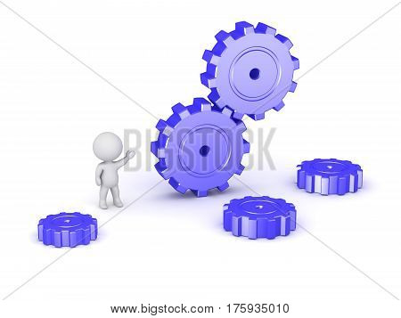 3D character and some large gears. Isolated on white background.