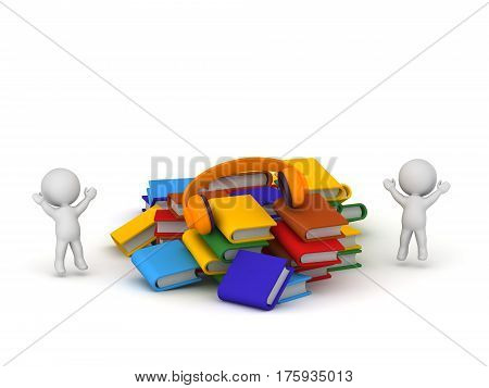 3D characters jumping up and a pile of colorful books. Isolated on white background.