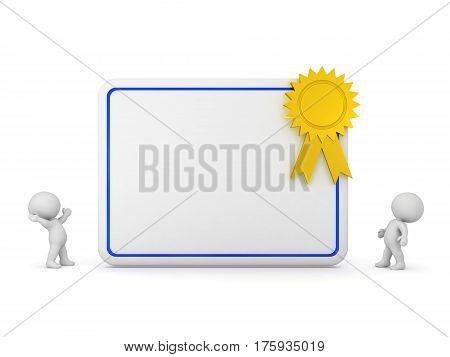Two 3D characters and a large diploma with a gold ribbon. Isolated on white background.