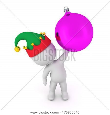 3D character in elf hat holding up a large decorative purple globe. Isolated on white background.