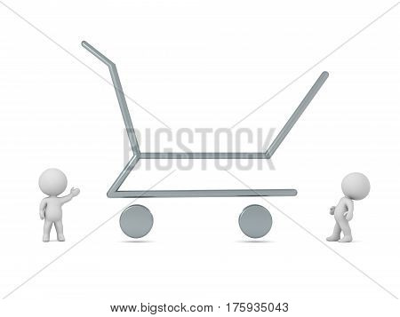 Small 3D characters and a large shopping cart outline. Isolated on white background.