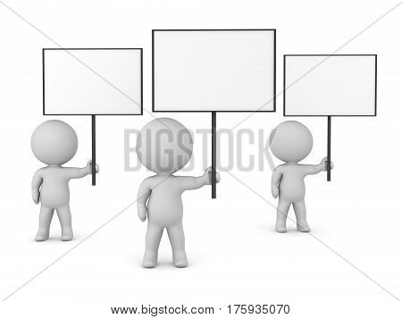 Three 3D characters holding up large empty protest signs. Isolated on white background.